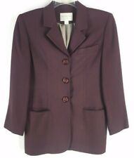 EXPRESS TAILLEUR Women's Burgundy Wool Blend Luxury Blazer Jacket (Size 5/6)