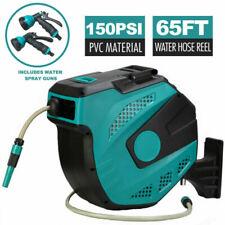 65' Retractable Water Hose Reel Auto Rewind Wall Mount Garden Tool 2 Spray Gun