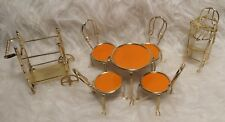 Vintage 1983 JUSTEN Brass Doll House Kitchen Furniture Set ~ AS IS~ LIDO 1870A