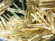 Vtg 150 SILVER LINE GOLD LONG BUGLE BEAD-DEAD STOCK-WQW 25mm #022510m