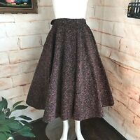 "Vintage 50s 1950s Wool Speckled Winter Circle Skirt 24"" XS XSmall Handmade vtg"