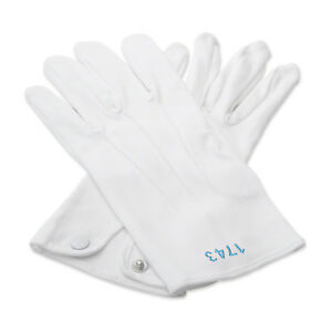 100% Cotton White Masonic Gloves with Your Lodge Number