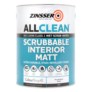 Zinsser AllClean Scrubbable Fire Rated Interior Paint 2.5L Brilliant White Matt