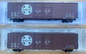 n scale MTL micro trains 60' Box car set ATSF 2RD# runner pack Santa Fe Waffle
