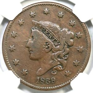 1839/6 N-1 R-3+ NGC VF 20 Head of 36 Matron or Coronet Head Large Cent Coin 1c