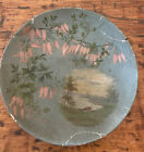 Antique hand-painted paper mache plate Lake scene Wisteria- Shabby Chic