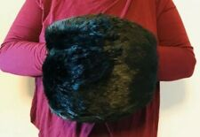 Vtg Muff Black Rabbit? Fur Satin Lining Large Winter Warm