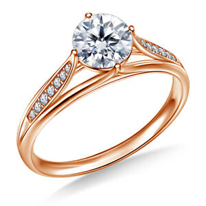 0.80 Ct Round Cut Rose Gold  Anniversary Ring 18K Solitaire Girl Rings