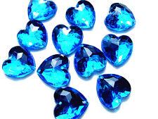 80 Sky Blue Love Heart Faceted Beads Acrylic Rhinestone Gem 16 mm FlatBack SewOn