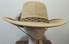 Resistol Self-Conforming Tan Camel Suede Leather 70s Hat w/Strap, Size 7 5/8