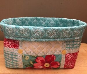 Pioneer Woman Patchwork Handmade Storage Basket Foldable Made New Free Ship