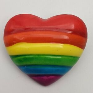 Vintage Plastic Colorful Rainbow Heart Pin/Brooch 1inch