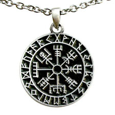 Guidepost Compass Vegvisir Talisman Viking Pewter Pendant Stainless necklace