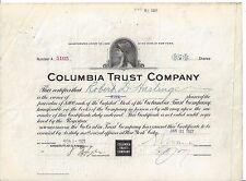 COLUMBIA TRUST COMPANY.......1921 STOCK CERTIFICATE