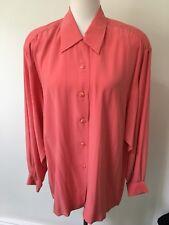 NWT Women's Designer 100% Silk Long Sleeve Blouse Size Medium