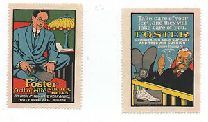 Two 1915 Advertising Stickers for Foster Orthopedic Heels for Shoes