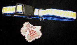 MALE PUPPY DOG TEAM CAPTAIN COLLAR blue white yellow MEDIUM NEW NWOT cute @@