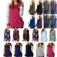 Womens Fashion Lace Floral Splicing O-Neck Long Sleeve T-Shirt Blouse Tops New