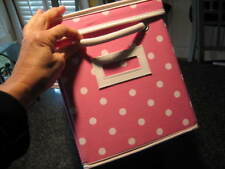 POTTERY BARN TEEN Pink Polka Dot DOTTIE Canvas Storage Bin Box with Lid