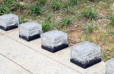 12x Energía Solar Led De Vidrio Esmerilado Cubo De Hielo Luz Exterior De Jardín Patio Camino De Ladrillo