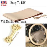 1pcs DIY 38cm Beige Car Truck PU Leather Steering Wheel Cover & Needles Thread