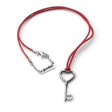 """Guzzini """"Love Key"""" Collana con laccetto cotone rosso e ciondolo Chiave cuore"""