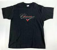 Vintage Chicago Bulls Black T-shirt Pro Player Script Single Stitch 90s - Size L