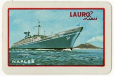 Playing Cards 1 Swap Card Old Vintage LAURO LINES Naples Shipping CRUISE LINER 2