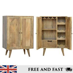 Wine Cabinet Oak Finish Mango Wood Stemware Rack, Wine Bottle Grooves and Drawer