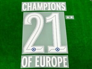 OFFICIAL CHAMPIONS #21 OF EUROPE + 2 STARS print for CHELSEA FC 2021-22 Jersey