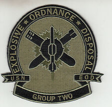 EXPLOSIVE ORDNANCE DISPOSAL GROUP TWO OD GREEN CHEST PATCH