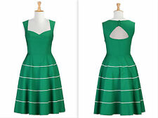 Eshakti Size Large 14 Green White Her Fifties Dress Retro Vintage Cut Out Back