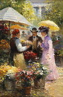 Oil painting portraits young woman and man buying flowers in summer landscape