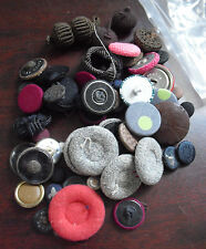 Lot of Vintage Cloth over Metal Clothes Buttons Various Sizes