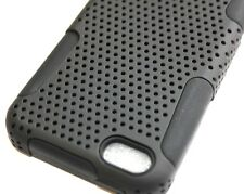 For iPhone 5C - HARD & SOFT RUBBER HYBRID ARMOR IMPACT CASE COVER BLACK MESH