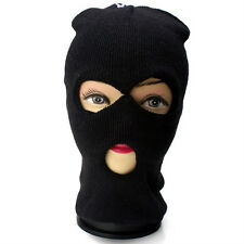 Unisex Ski Winter Full Face Mask Black 3 Hole Beanie Knit Cap Shield Hat #16