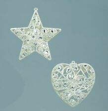 Jewelled Tree Decorations in Diamond Silver  Set of 4  NEW  19494