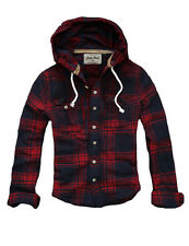 Womens CALI HOLI Slim Fit Tunic Hooded Check Flannel Shirt Red Navy 9831533