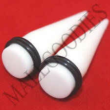 """0595 Acrylic White Stretchers Tapers Expanders 1/2"""" Inch 12.7mm MallGoodies 2pcs"""