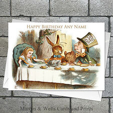 Alice in Wonderland birthday card: Mad Hatter's tea party. Personalised.