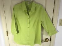Woman's Coldwater Creek size 14 regular green 3/4 sleeve cotton blouse