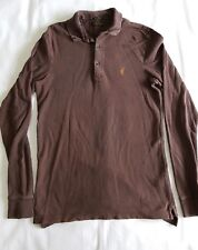 Mens All Saints Long Sleeved Brown polo shirt. Size XS