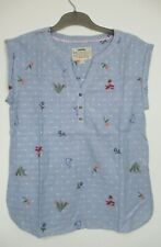 New White Stuff Blue Striped Embroidered Cotton Summer Tunic Top Size 10 -16