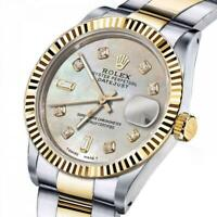Men's Rolex 36mm Datejust Two-Tone White MOP Mother Of Pearl 8 + 2 Diamond Dial+