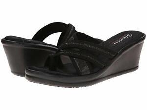 Skechers Women's Rumblers Happy Dayz Black Wedge Sandals - Size 11 NWB