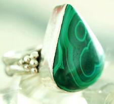 Verspielt Groß Breit Massiv Malachit Tropfen Silber Ring 61 Handarbeit Grün