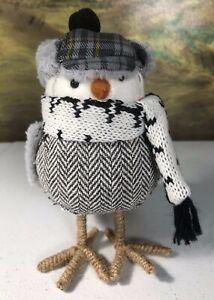 "Gray Winter bird Christmas decoration hat scarf 6.5"" tall"
