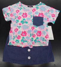 Girls Kensie $42 2pc Floral Shirt & Denim Blue Skirt Set Size 4 - 6X