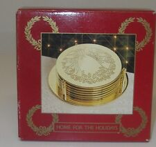 BARWARE 6 Brass Coasters with Holder by Home for the Holidays Wreath 1995 May Co