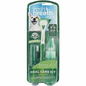 TropiClean Fresh Breath Oral Care Kit for Large Dogs, Reduces Plaque and Tartar